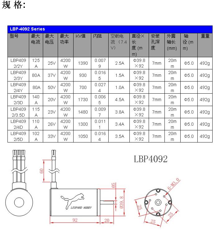 Leopard 4092 1390kv 4 Pole Inrunner Brushless Motor Lbp